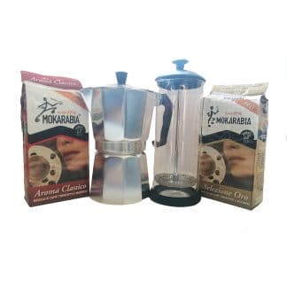 Home Coffee Kit. Moka Pot, Milk Frother and Ground Coffee