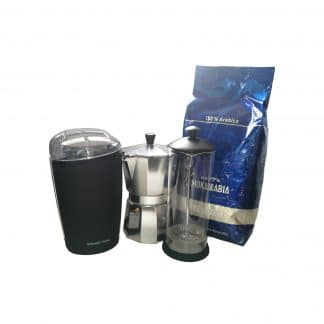 Coffee Starter Kit, Coffee Grinder, Moka Pot, Freshly ground coffee